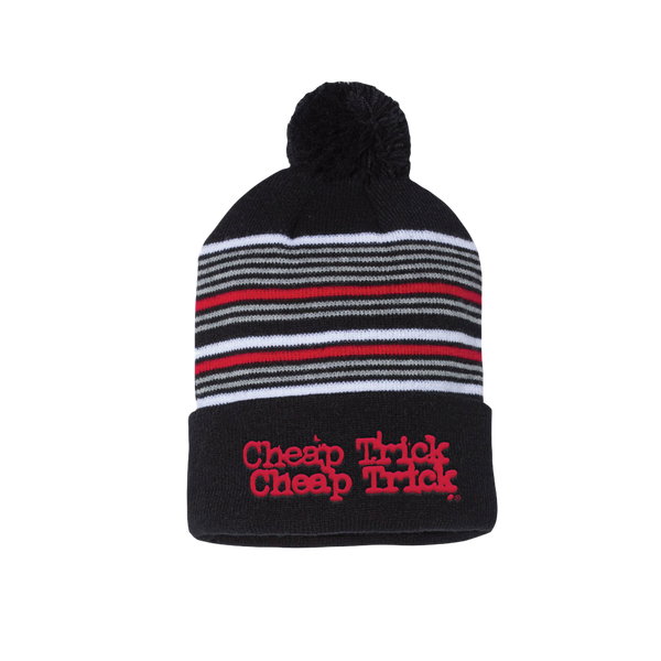 Logo Striped Pom Beanie