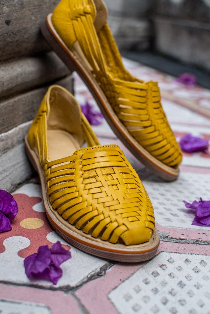 Frida - Women's Yellow Leather Shoes