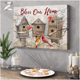 Zalooo Bless Our Home Cardinal Wall Art Canvas Christmas Wall Art Canvas