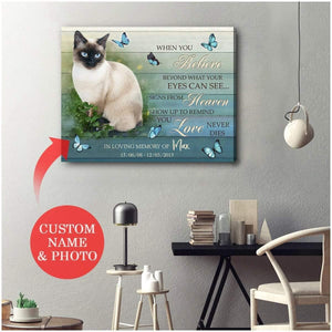 Zalooo When You Believe Personalized Siamese Cat Photo Wall Art Canvas