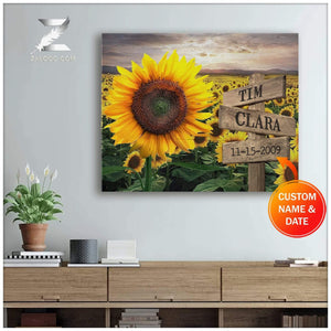 Zalooo Sunflowers Husband And Wife Personalized Name Wall Art Canvas
