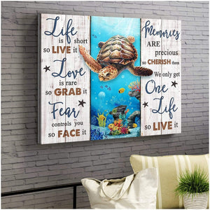 Zalooo Life Is Short Turtle Wall Art Canvas