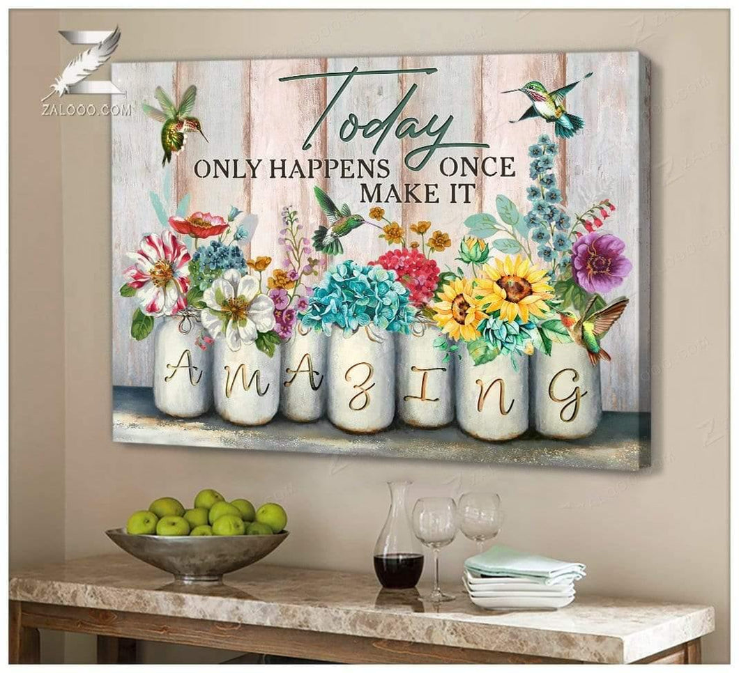 Zalooo Amazing Hummingbird Wall Art Canvas