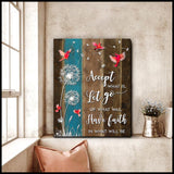 Zalooo Accept What Is Let Go Cardinal Wall Art Canvas