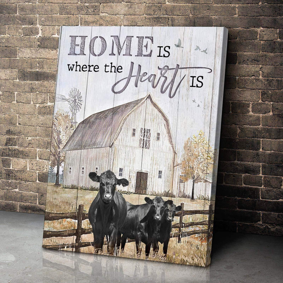 Zalooo Home Is Cow Wall Art Canvas