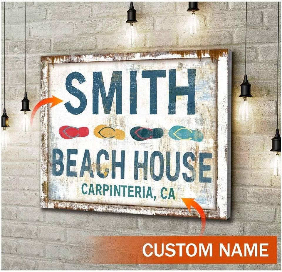 Zalooo Personalized Name And a City, State Beach House Wall Art Canvas Beach House Sign Wall Art Canvas