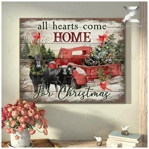 Zalooo Home Angus Cow Wall Art Canvas Christmas Wall Art Canvas