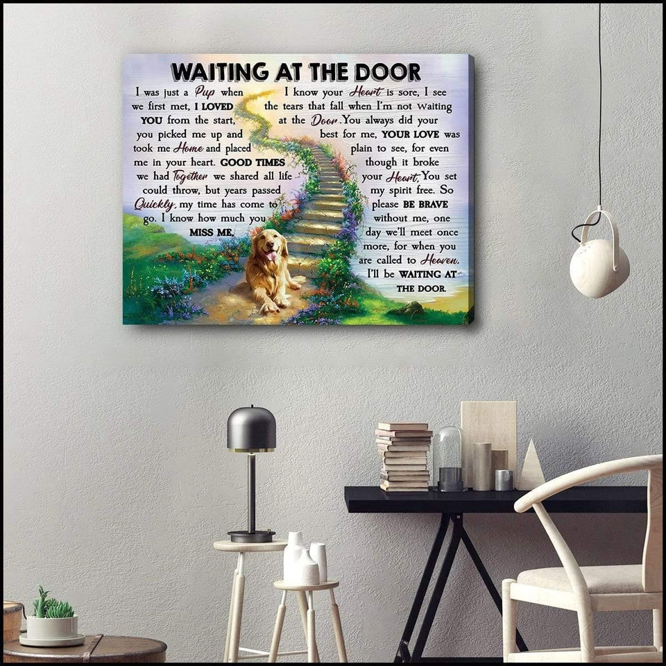 Zalooo Waiting At The Door V2 Golden Retriever Wall Art Canvas