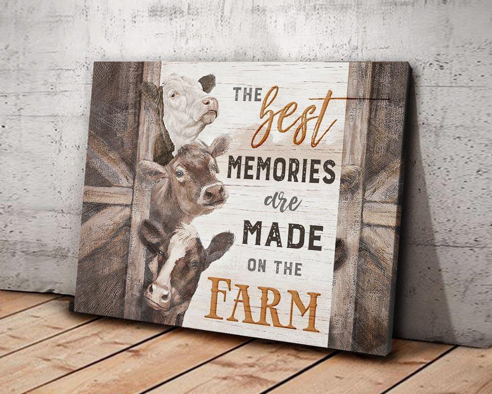 Zalooo Made On The Farm Cow Wall Art Canvas