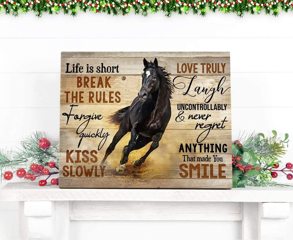 Zalooo Life Is Short Horse Wall Art Canvas Christmas Wall Art