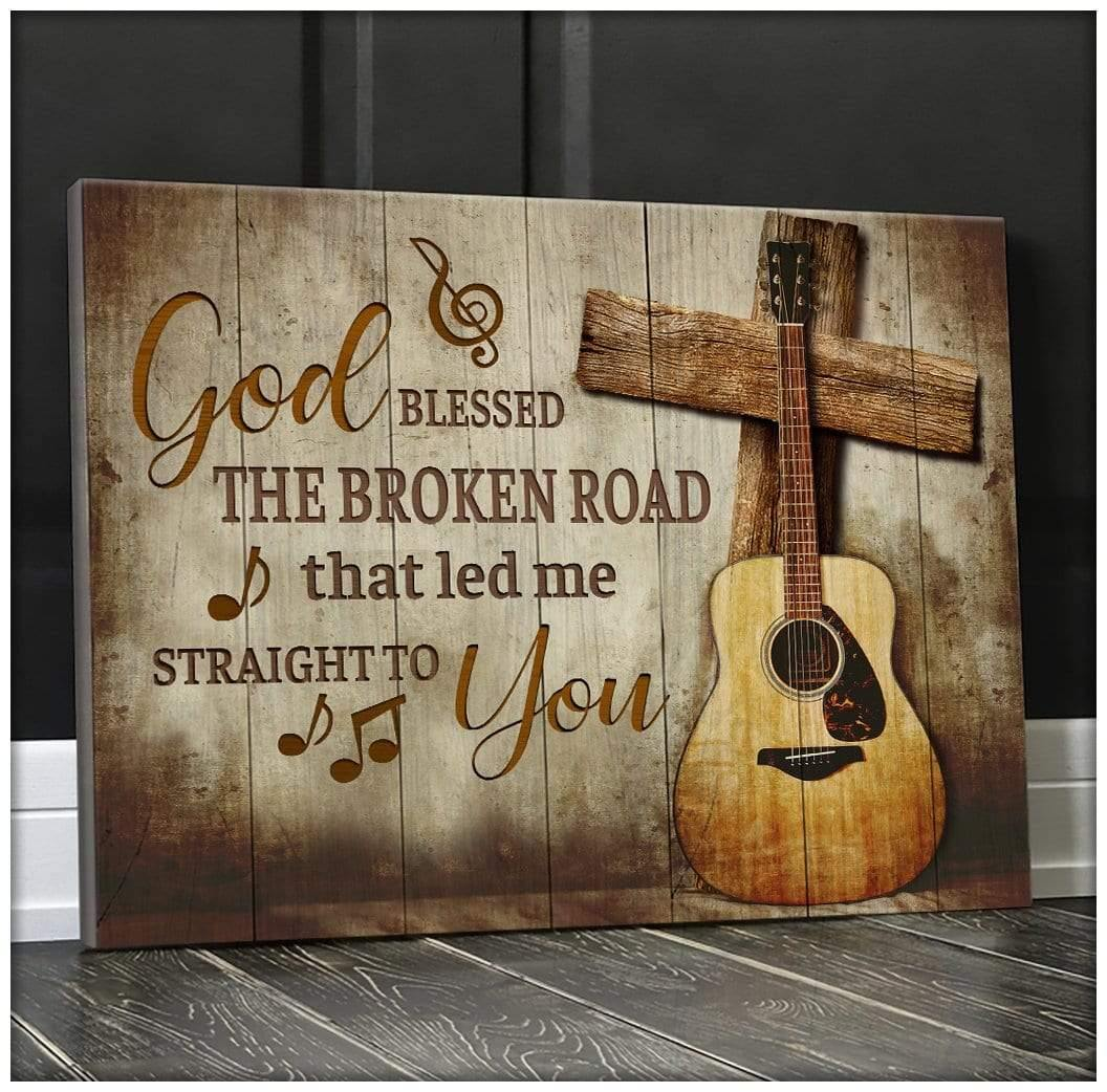 Zalooo God Blessed Guitar Wall Art Canvas