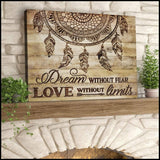 Zalooo Dream Without Fear Dreamcatcher Wall Art Canvas