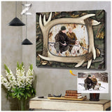 Zalooo Personalized Photo Antlers Wall Art Deer Canvas