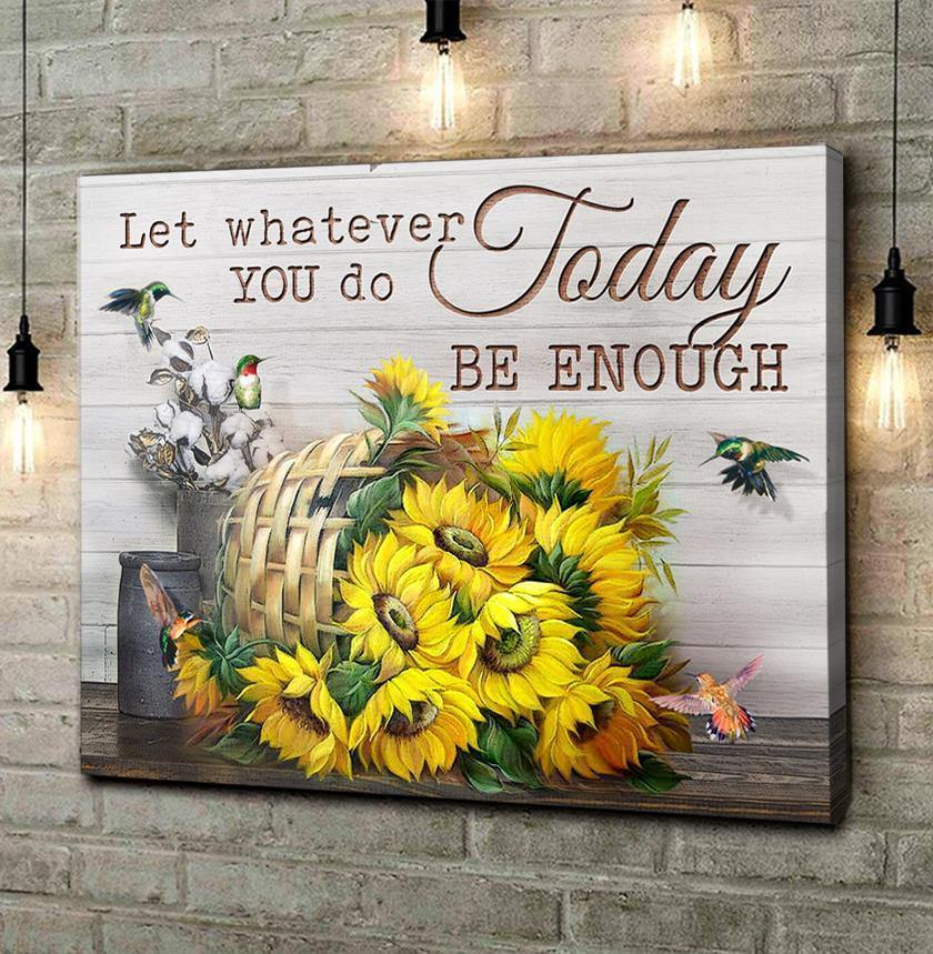 Zalooo Today Be Enough Sunflower And Hummingbird Canvas Wall Art Decor