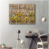 Zalooo Always Stay Humble And Kind Butterfly Wall Art Canvas