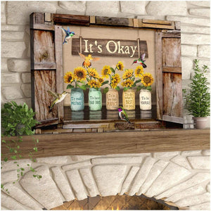 Zalooo It's Okay To Make Mistakes Window Sunflower Hummingbird Canvas Wall Art Decor