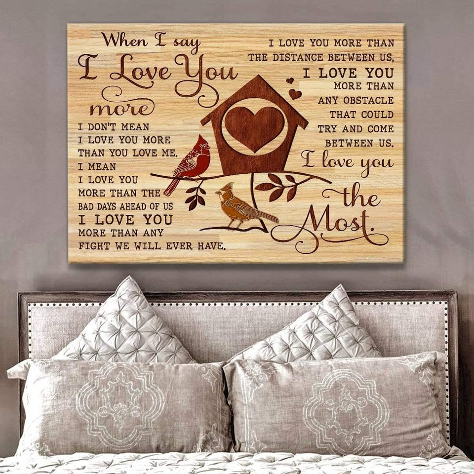 Zalooo I Love You The Most Cardinal Wall Art Canvas