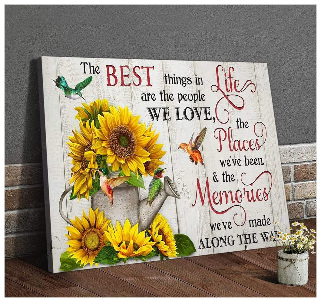 Zalooo The Best Things In Life Sunflower Hummingbird Wall Art Canvas