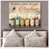 Zalooo Be Kind Butterfly V2 Wall Art Canvas