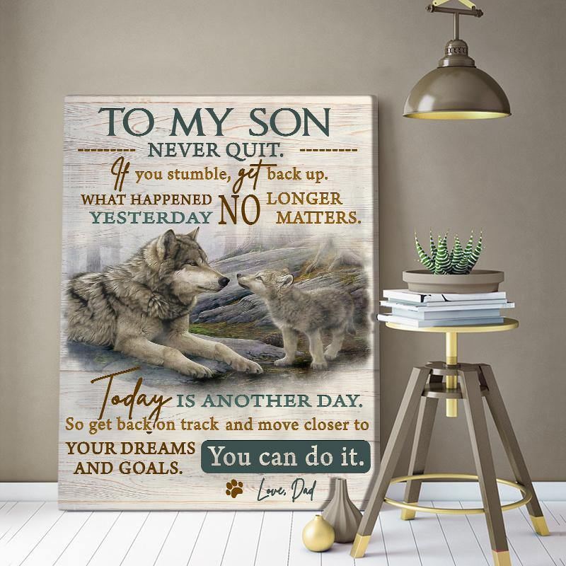 Zalooo To My Son Wolf Wall Art Canvas