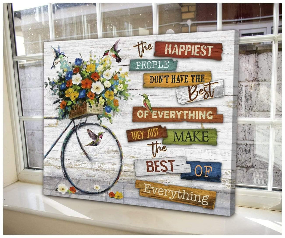 Zalooo The Happiest People Hummingbird Wall Art Canvas