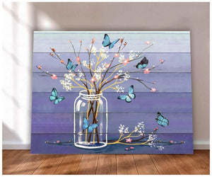 Canvas Butterfly + Flowers (Purple)