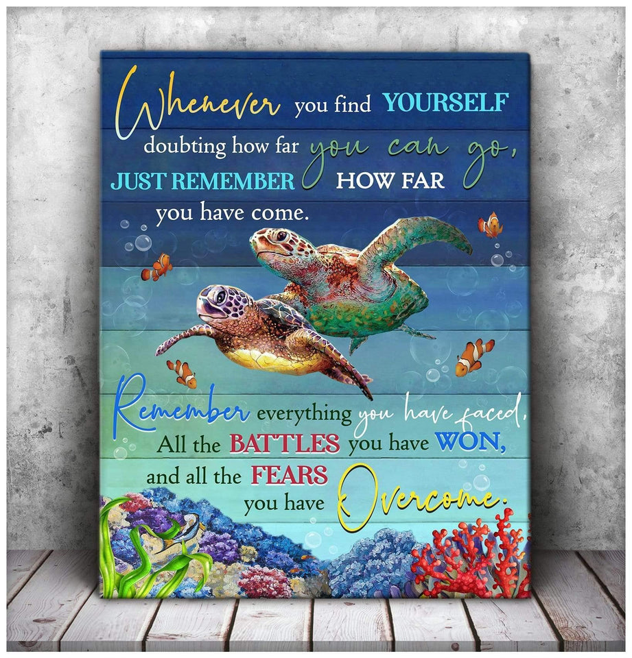 Zalooo Overcome Turtle Wall Art Canvas