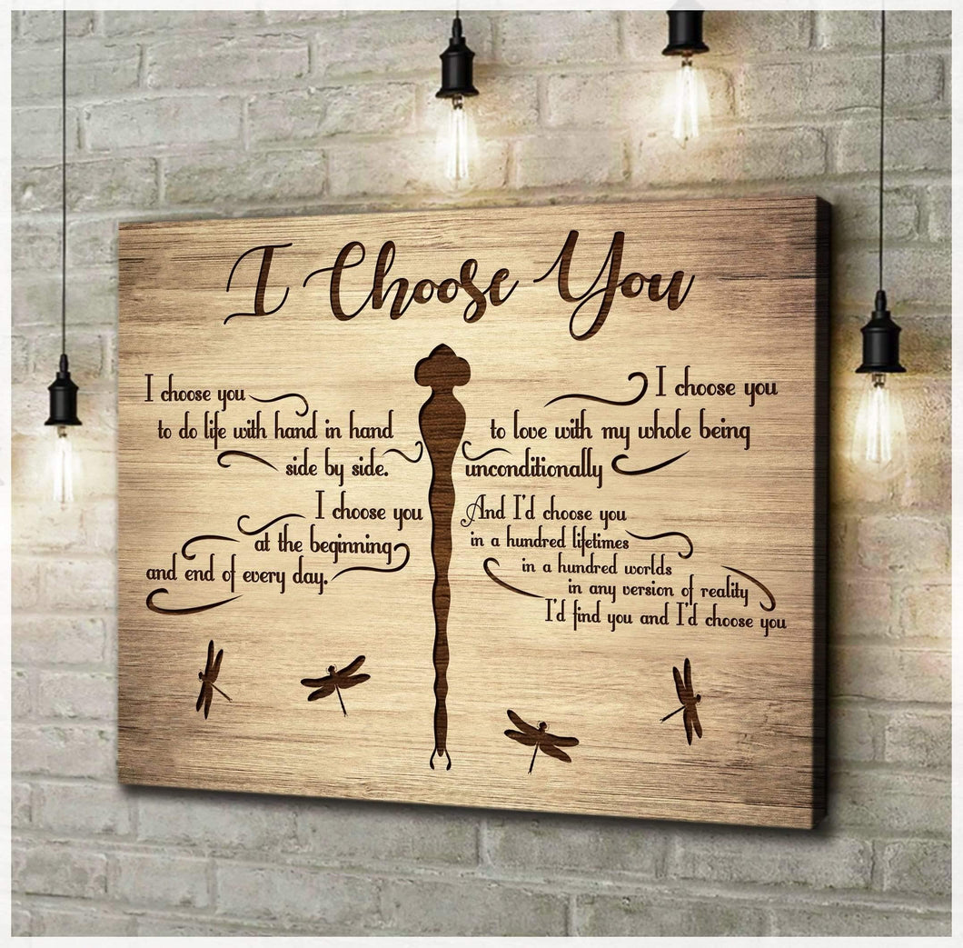 Zalooo I Choose You Dragonfly Wall Art Canvas