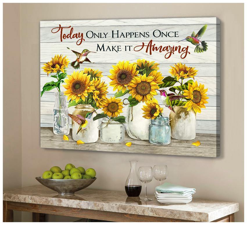 Zalooo Make It Amazing Sunflower Hummingbird Wall Art Canvas