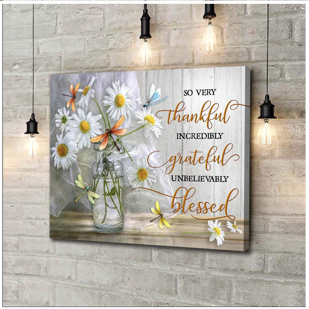 Zalooo So Very Thankful Dragonfly Wall Art Canvas