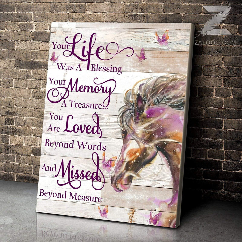 CANVAS HORSE Your Life Was A Blessing