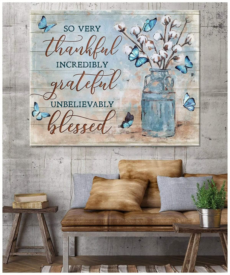 Zalooo So Many Thankful Butterfly 2 Wall Art Canvas