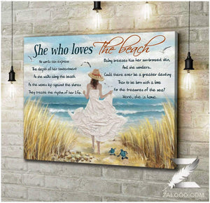Zalooo She who loves the beach Turtle Canvas Wall Art Decor