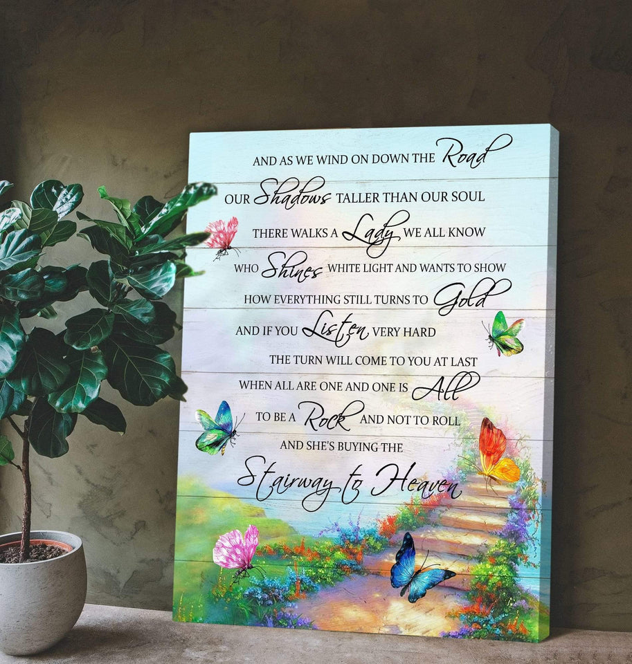Zalooo Stairway To Heaven Butterfly Wall Art Canvas