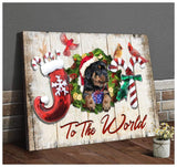 Zalooo Joy To The World Rottweiler Christmas Wall Art Canvas