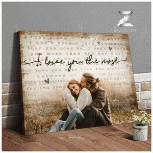 Zalooo I love you the most Personalized Couple Wall Art Canvas