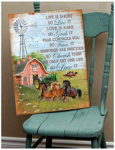 Zalooo Life Is Short Horse Wall Art Canvas
