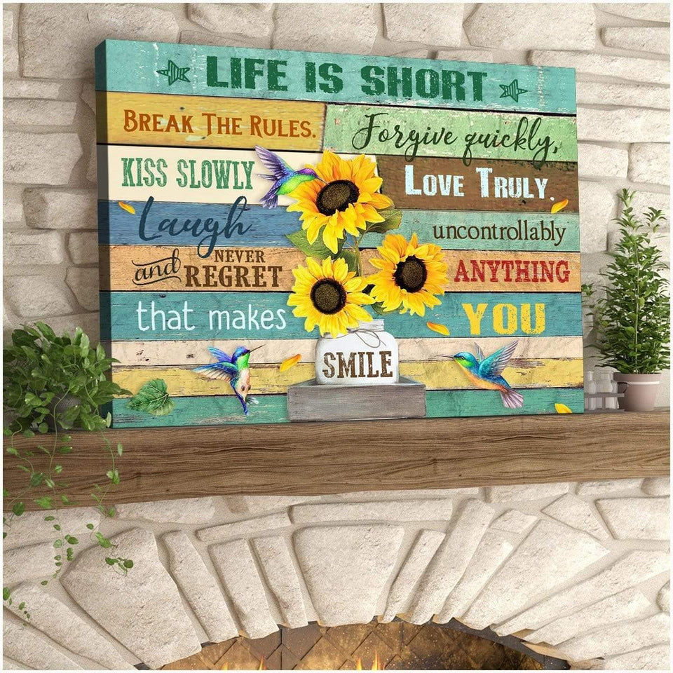 Zalooo Life Is Short Hummingbird Wall Art Canvas