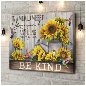 Zalooo Be Kind Hummingbird Wall Art Canvas