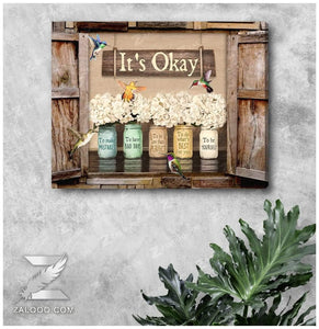 Zalooo It's Okay Window Flowers Hummingbird Wall Art Canvas