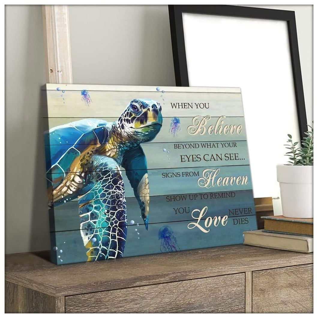 Zalooo When You Believe Turtle Wall Art Canvas