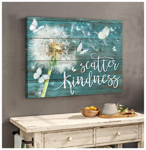 Zalooo Scatter Kindness Dandelion Butterfly Wall Art Canvas