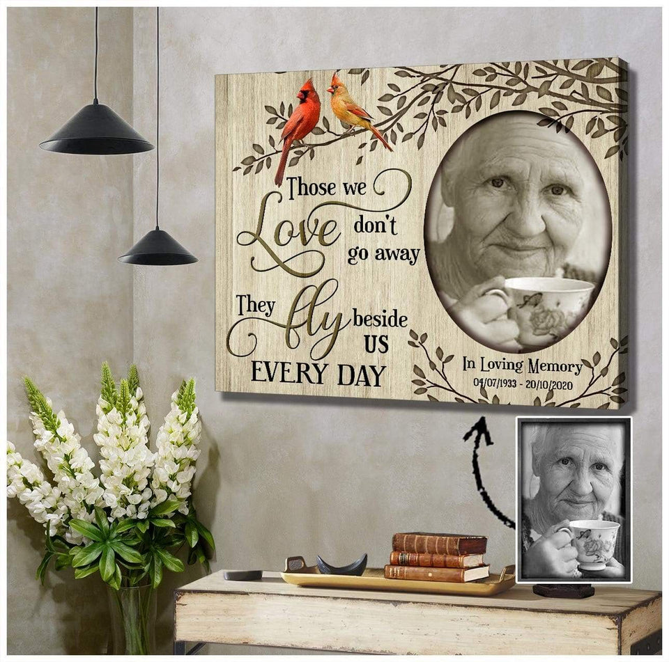 Zalooo Those We Love Personalized Photo and Name Cardinal Wall Art Canvas