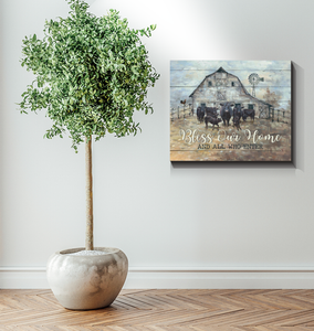 Black Angus Cattle Canvas Bless our home and all who enter