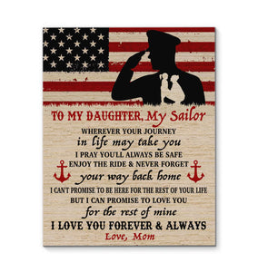 CANVAS Navy Daughter Wherever your journey in life may take you