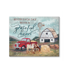 Farm Canvas Begin each day with a grateful heart