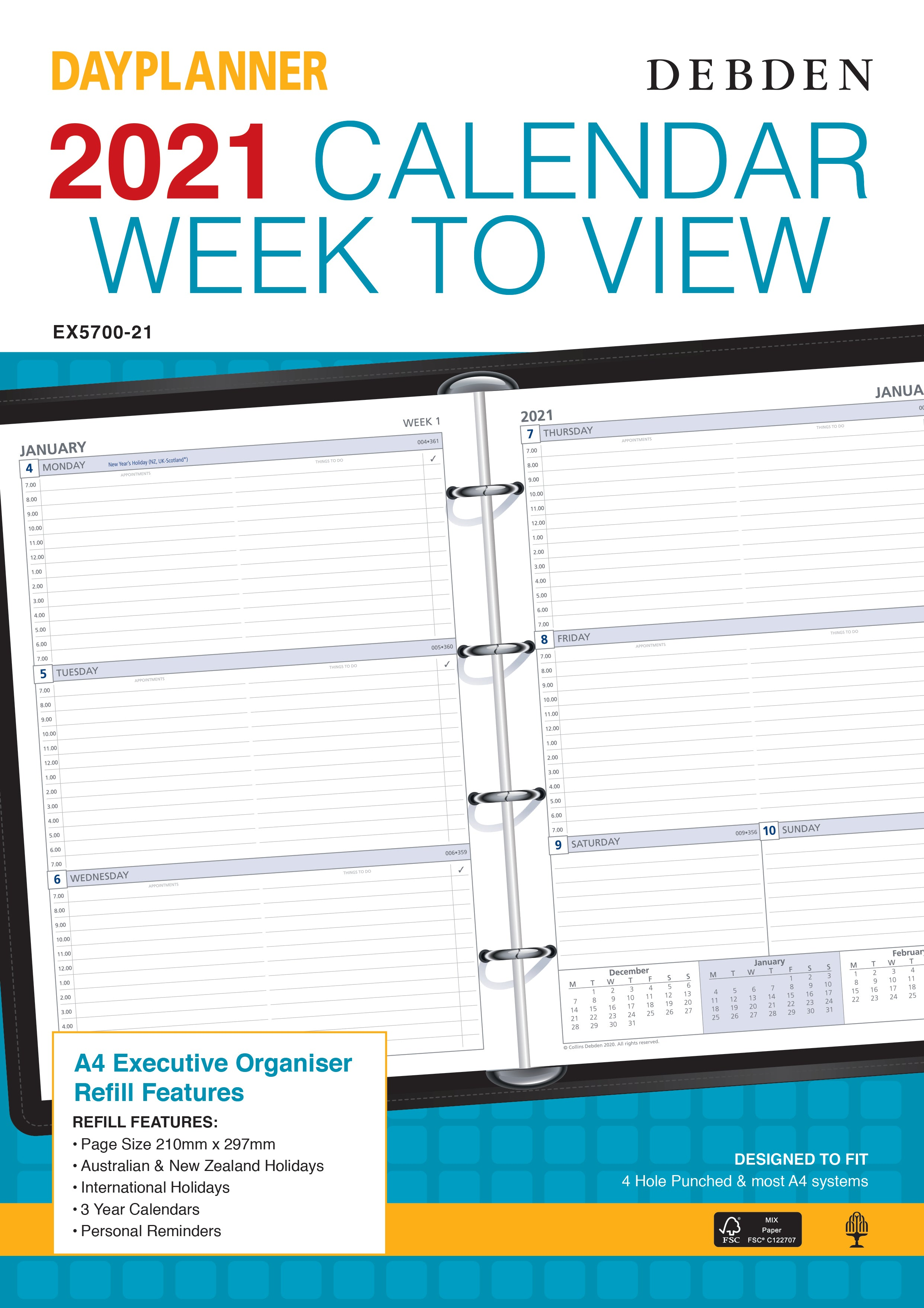 Dayplanner  Diary 2021 A4-Weekly-Refill
