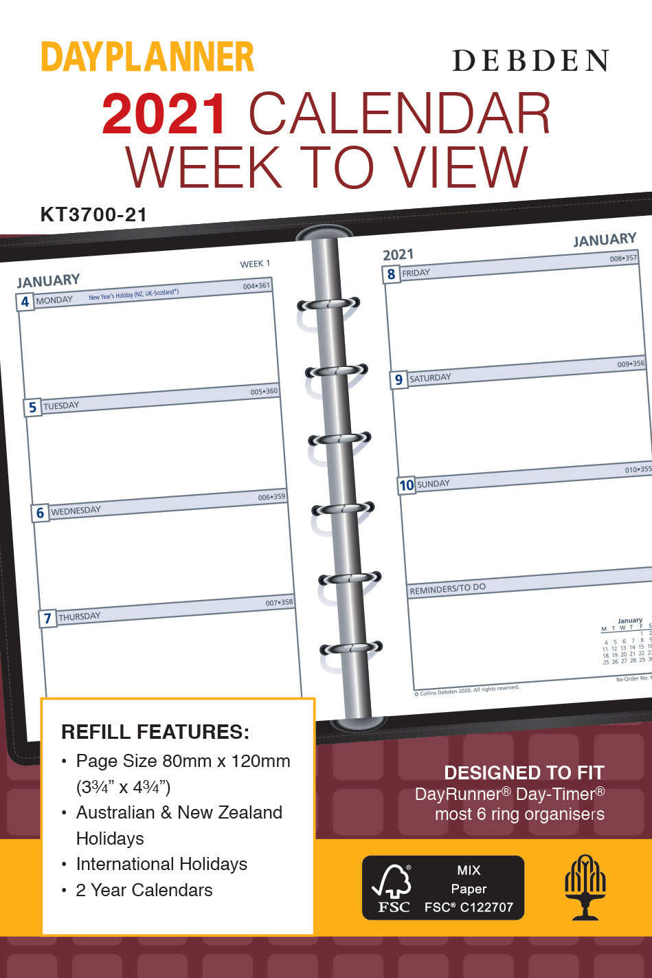 Dayplanner  Diary 2021 Pocket-Weekly-Refill