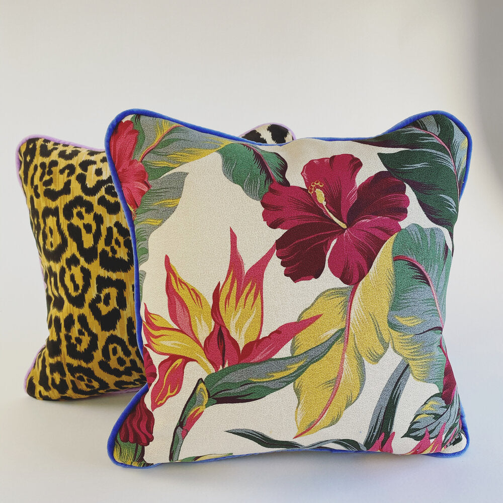 Pink Hibiscus + Leopard Mix Luxury Cushion