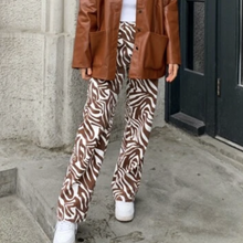 Load image into Gallery viewer, Brown zebra print jeans